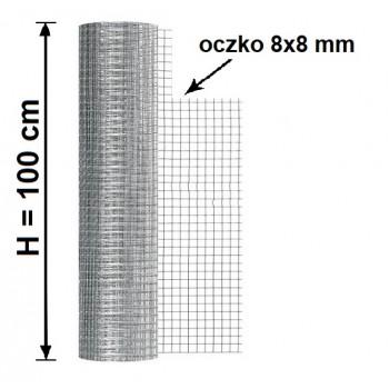 Siatka Hodowlana Zgrzewana Oczko 8x8mm, fi 0,7 mm, H-1m x 25mb
