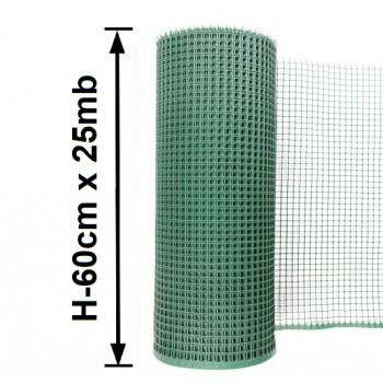 Siatka Ogrodzeniowa Rabatowa Plastikowa, H-0,6m x 25mb