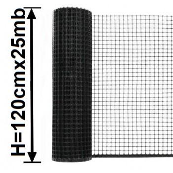 Siatka Ogrodzeniowa Rabatowa Plastikowa, H-1,20m x 25mb Czarna