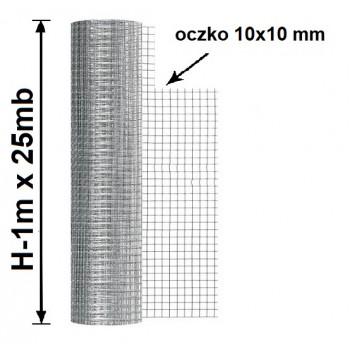 Siatka Hodowlana Zgrzewana Oczko 10x10mm, fi 0,8mm, H-1m x 25mb