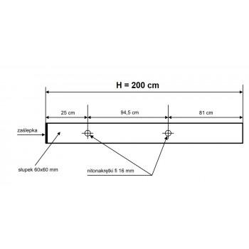 Słupek Ogrodzeniowy Furtkowy 60X60 mm + Nitonakretki Ocynkowany H- 2,0 m #3