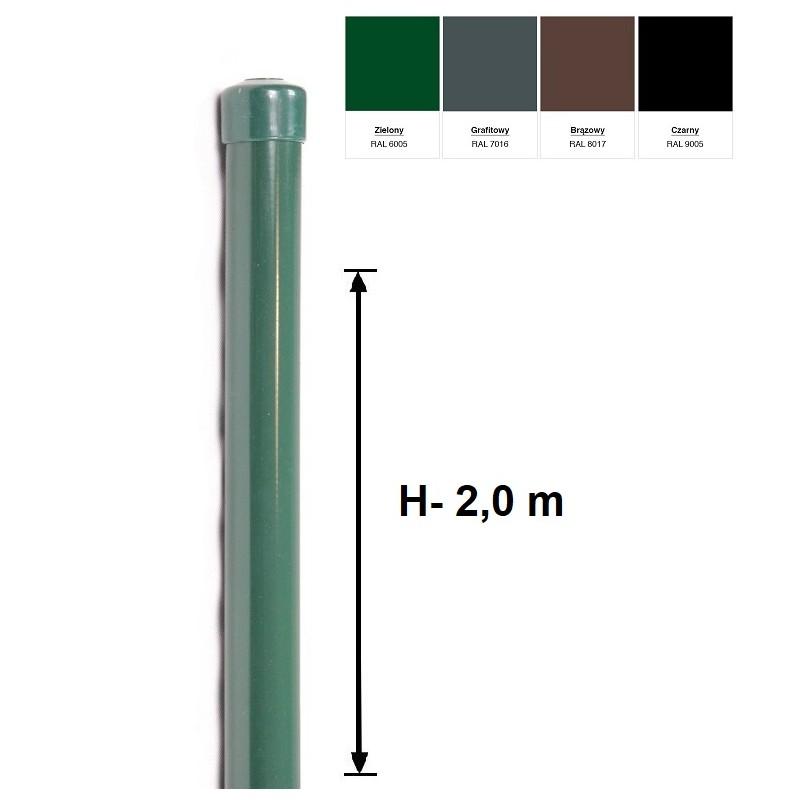 Słupek Ogrodzeniowy Powlekany Ocynk+PCV fi 42mm H-2,0 m