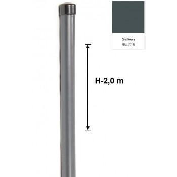Słupek Ogrodzeniowy Powlekany Ocynk+PCV fi 42mm H-2,0 m #4