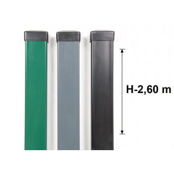 Słupek Ogrodzeniowy Panelowy 60x40 mm Ocynk+Kolor H-2,6 m