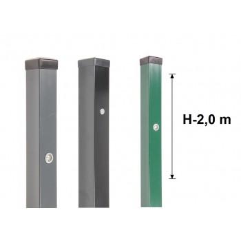 Słupek Ogrodzeniowy 60x60 mm Ocynk+Kolor+Nitonakrętki H- 2,0 m