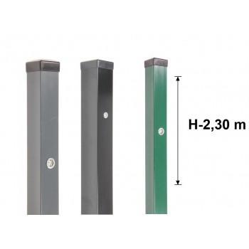 Słupek Ogrodzeniowy 60x60 mm Ocynk+Kolor+Nitonakrętki H- 2,3 m