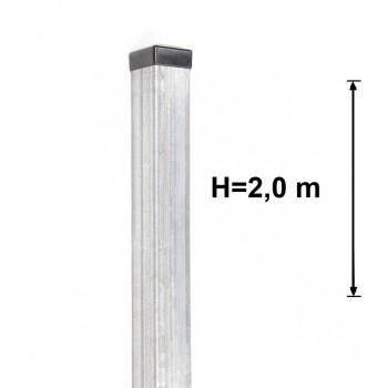 Słupek Ogrodzeniowy Bramowy 80x80 mm Ocynkowany, Wys. 2,0 m