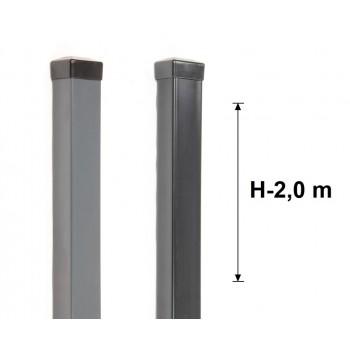 Słupek Ogrodzeniowy 50x50 mm Ocynk+Kolor H- 2,0 m