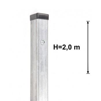 Słupek Ogrodzeniowy Furtkowy 60X60 mm + Nitonakretki Ocynkowany H- 2,0 m