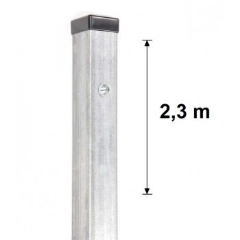 Słupek Ogrodzeniowy Furtkowy 60X60 mm + Nitonakretki Ocynkowany H- 2,3 m