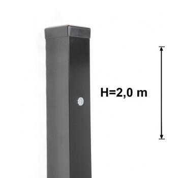 Słupek Bramowo - Furtkowy 80x80 mm Kolor+Nitonakrętki , Wys. 2,0 m