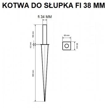 Podstawa Słupa Okrągła Wbijana Fi 38 mm