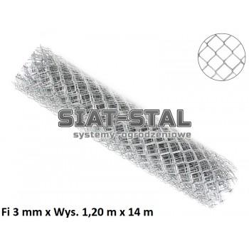 Siatka Ogrodzeniowa Ocynkowana, fi 3,0mm, wys. 1,20 m x 14 m