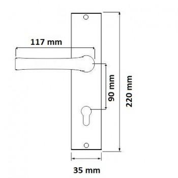 Klamka Czarna  z Szyldem na Wkładkę Prosta Uniwersalna 90 mm #5